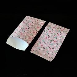Lot de 50 pochettes cadeaux roses 16x24cm à motif fleurs - 8157