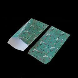 Lot de 50 pochettes cadeaux vert d'eau 16x24cm à motif fleurs - 8159