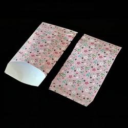 50 grandes pochettes cadeaux roses motif fleurs 21x29cm - 8165