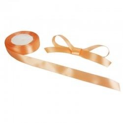Bobine de ruban satiné en tissu de couleur orange saumon - 9732