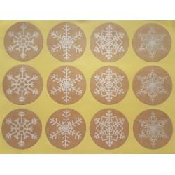 Étiquettes cadeaux autocollantes motifs flocons de Noël - 9731