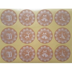 Étiquettes cadeaux autocollantes motifs de Noël - 9730