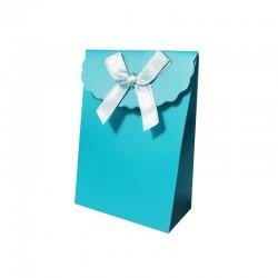 12 petites pochettes cadeaux bijoux bleu azur 7.5x4x10.5cm - 9736
