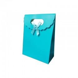 12 boîtes cadeaux bleu azur uni 12.5x6x16cm - 9738