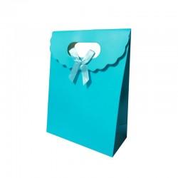 12 boîtes cadeaux couleur bleu azur 19x9x27cm - 9740