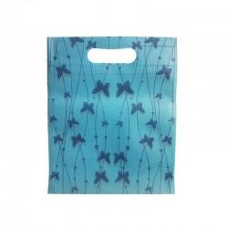 12 petits sacs non-tissés bleus motif papillons 19x24cm - 9749