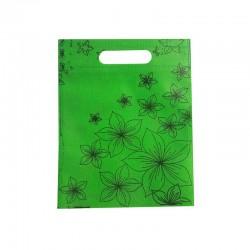 12 petits sacs non-tissés verts motif orchidées 19x24cm - 9751