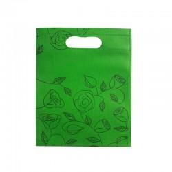 12 petits sacs non-tissés verts motif de roses 19x24cm - 9752