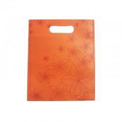 12 petits sacs non-tissés oranges motif orchidées 19x24cm - 9753