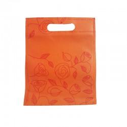 12 petits sacs non-tissés oranges motif de roses 19x24cm - 9754