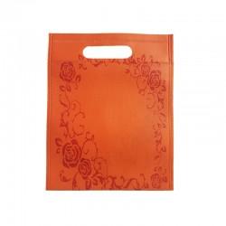 12 petits sacs non-tissés oranges motif couronne de roses 19x24cm - 9755
