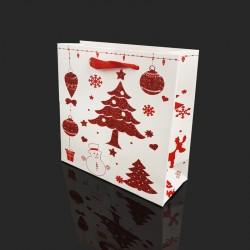 12 petits sacs cadeaux rouge et blanc motif sapin de Noël pailleté 15x6x14.5cm - 9764