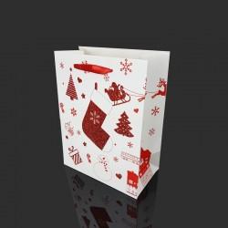 12 sacs cadeaux blancs motif chaussette de Noël rouge pailletée 18x10x23cm - 9765