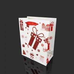 12 sacs cadeaux blancs motif cadeau de Noël rouge pailletée 18x10x23cm - 9767