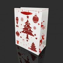 Lot de 12 sacs cadeaux blancs motif sapin de Noël rouge 26x12x32cm - 9772