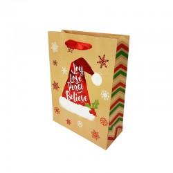 12 petits sacs cadeaux beige naturel motif bonnet de Noël rouge 12x7x15.5cm - 9785