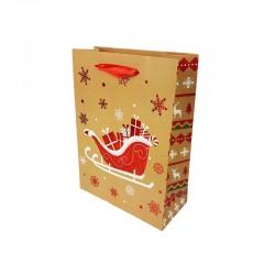 12 petits sacs cadeaux beige naturel motif traineau de Noël rouge 12x7x15.5cm - 9787