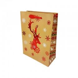 12 petits sacs cadeaux beige naturel motif renne de Noël rouge 12x7x15.5cm - 9786