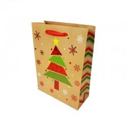 12 petits sacs cadeaux beige naturel motif sapin de Noël rouge 12x7x15.5cm - 9788