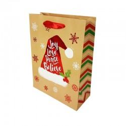 12 sacs cadeaux motif bonnet de Noël rouge brillant 18x8x24cm - 9789