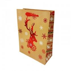 12 sacs cadeaux motif renne de Noël rouge brillant 18x8x24cm - 9790