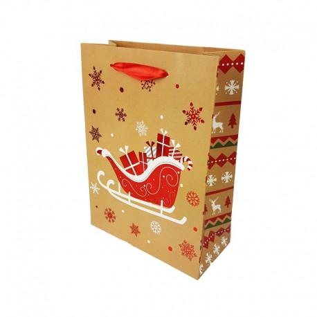 12 sacs cadeaux motif traineau de Noël rouge brillant 18x8x24cm - 9791