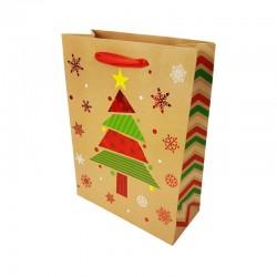 12 sacs cadeaux motif sapin de Noël rouge brillant 18x8x24cm - 9792