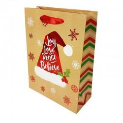 Lot de 12 sacs cadeaux motif bonnet de Noël rouge brillant 26x12x32cm - 9793