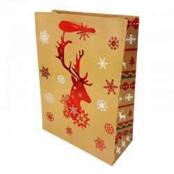 Lot de 12 sacs cadeaux motif renne de Noël rouge brillant 26x12x32cm - 9794