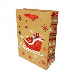 Lot de 12 sacs cadeaux motif traineau de Noël rouge brillant 26x12x32cm - 9795