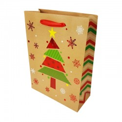 Lot de 12 sacs cadeaux motif sapin de Noël rouge brillant 26x12x32cm - 9796