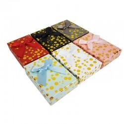 24 petits écrins pour parure 6 couleurs motifs pois dorés - 10137