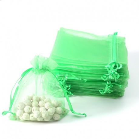 100 bourses cadeaux organza vert pomme refermables 14x20cm - 7093