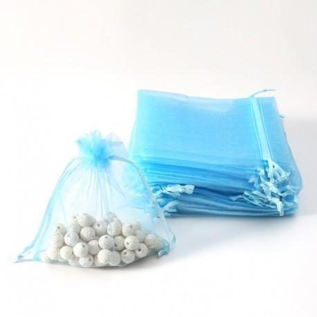 100 petites bourses cadeaux en organza de couleur bleu ciel 5x5cm - 7068