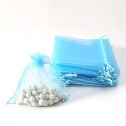 100 bourses cadeaux organza bleu ciel refermables 14x20cm - 7073
