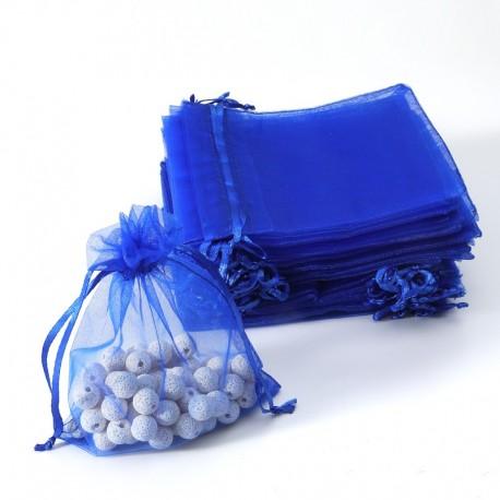 100 petites bourses cadeaux en organza de couleur bleu saphir 5x5cm - 7061