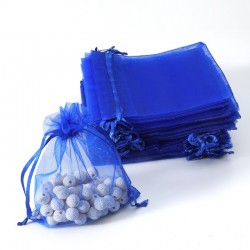 Lot de 100 bourses organza bleu saphir refermables 12x15cm - 7064