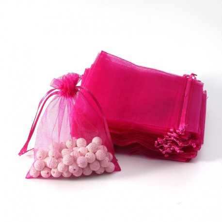 100 bourses cadeaux organza rose fuchsia refermables 14x20cm - 7051