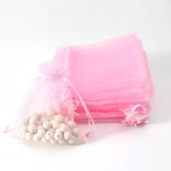 100 bourses en organza de couleur rose tendre 7x8cm - 7041