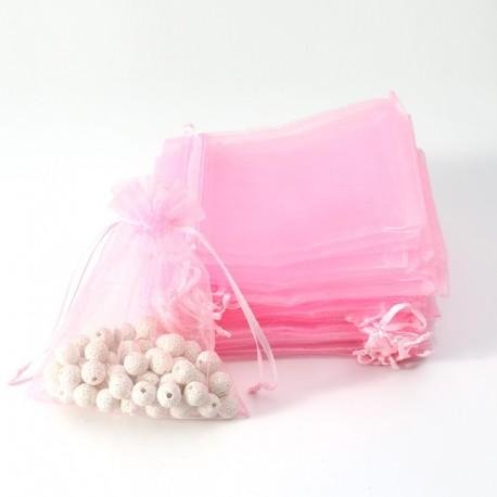 Lot de 100 pochettes organza rose tendre taille 20x14cm-7045