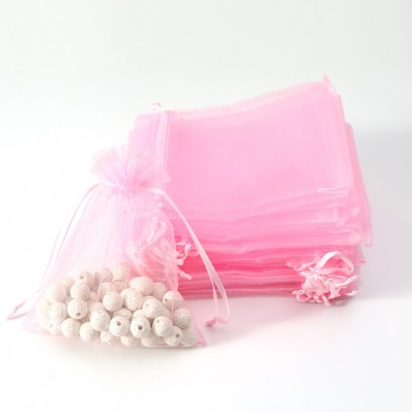 100 grandes bourses organza roses tendre refermable -7046