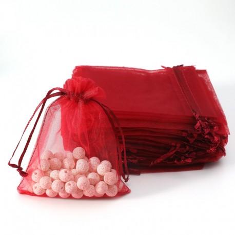 100 petites bourses cadeaux en organza de couleur rouge bordeaux 7x8cm - 7028