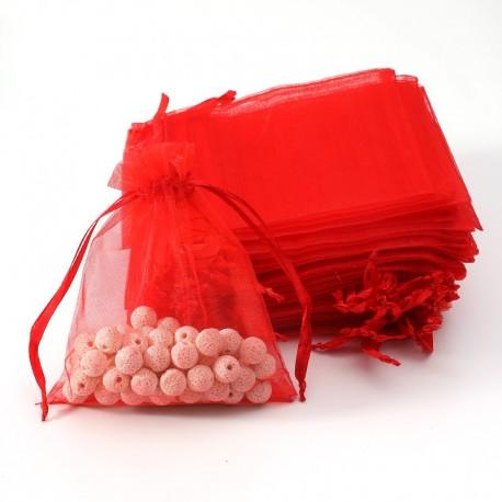 100 bourses en organza de couleur rouge 7x8cm - 7034