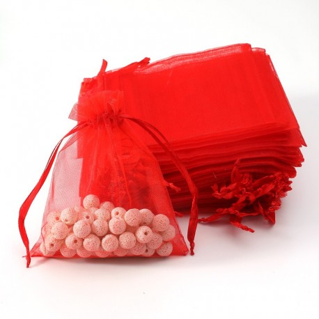 100 grandes bourses organza de couleur rouge 20x30cm - 7039
