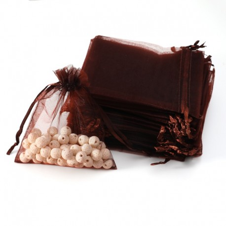 Lot de 100 bourses organza marron chocolat refermables 12x15cm - 7024