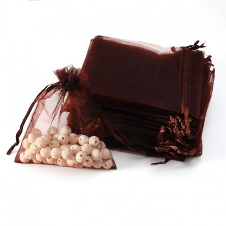 100 grandes bourses organza de couleur marron chocolat 20x30cm - 7026