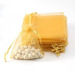 100 petites bourses cadeaux en organza de couleur jaune or 5x5cm - 7095