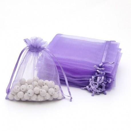 100 petites bourses cadeaux en organza de couleur lavande 5x5cm - 7054