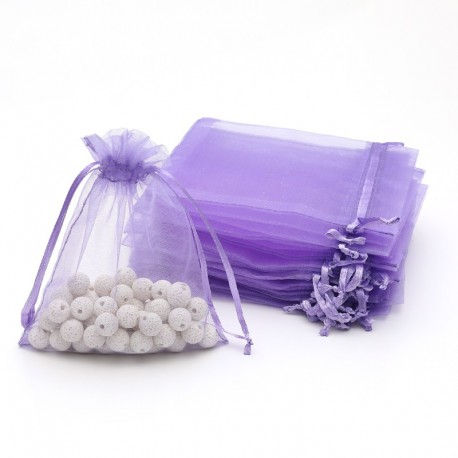 100 bourses cadeaux organza lavande refermables 14x20cm - 7059
