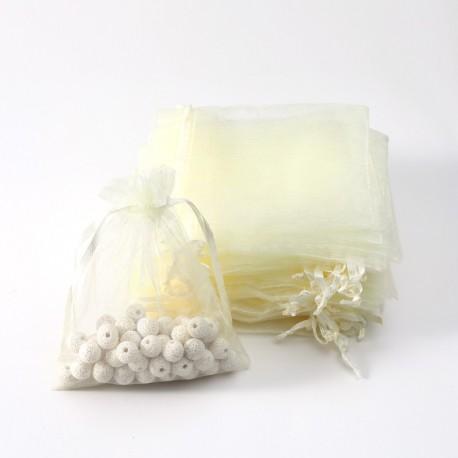 Lot de 100 bourses organza de couleur blanc ivoire 30x20cm - 6337